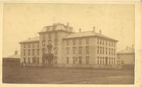 Old Main (1872-1948), north facade, facing southeast, circa 1872.
