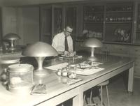 Science Hall, biology laboratory, circa 1950.