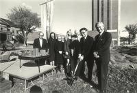 Mortensen Residence Hall, groundbreaking ceremony, facing east, circa 1973.