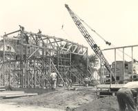 Gymnasium, construction, facing northeast, 1947.