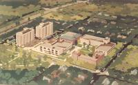 Augsburg College campus, architect's drawing, aerial view facing southwest, 1965.