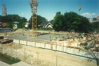 Lindell Library, construction of first floor, facing northwest, 1996.