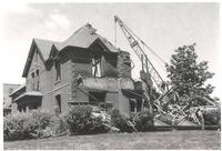 Morton Hall, demolition of northeast corner facing northwest, 1959.