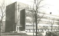 Science Hall, west facade, facing southeast, circa 1949.