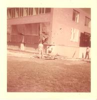 Sverdrup Hall, construction at southeast corner, facing northwest, 1955.
