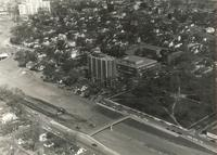 Augsburg College campus, south side, aerial view facing northwest, circa 1968.