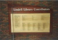 Lindell Library, contributors plaque, facing south, circa 1997.