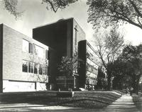 Science Hall and Sverdrup Hall, west facade, facing southeast, circa 1955.