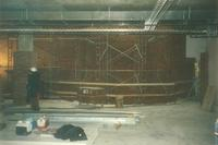 Lindell Library, construction of third floor, facing south, 1997.