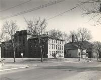 Old Main (1872-1948), north facade, Old Main (1902-) and West Hall, west facade, facing east, circa 1946.