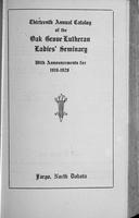 Oak Grove Ladies' Seminary Catalog, 1919-1920