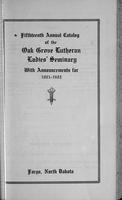 Oak Grove Ladies' Seminary Catalog, 1921-1922